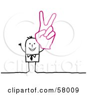 Royalty Free RF Clipart Illustration Of A Stick People Character Wearing A Giant Glove And Gesturing Peace