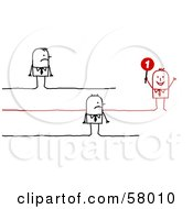 Royalty Free RF Clipart Illustration Of Two Grumpy Stick People Characters Watching A Successful Associate
