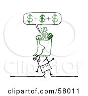Stick People Character Carrying A Grocery Bag On Top Of Her Head Calculating Her Cost