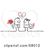 Stick People Character Couple Exchanging Flowers And Candy On Valentines Day