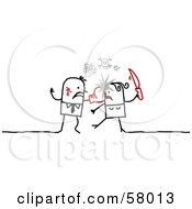 Royalty Free RF Clipart Illustration Of An Angry Stick People Character Couple Fighting With Boxing Gloves And Knives