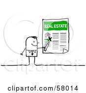 Royalty Free RF Clipart Illustration Of A Stick People Character Highlighting A Home For Sale by NL shop