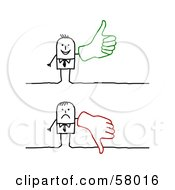 Royalty Free RF Clipart Illustration Of A Stick People Character Wearing A Big Glove And Giving The Thumbs Up And The Thumbs Down