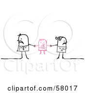 Royalty Free RF Clipart Illustration Of A Stick People Character Couple Playing Tug Of War On Their Child While Getting A Divorce by NL shop