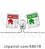 Royalty Free RF Clipart Illustration Of A Stick People Character Holding For Sale And For Rent Signs by NL shop
