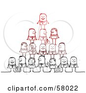 Royalty Free RF Clipart Illustration Of A Pyramid Of Stick People Characters With Briefcases And Cell Phones
