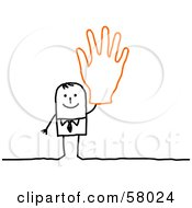 Royalty Free RF Clipart Illustration Of A Stick People Character Wearing A Giant Glove And Waving by NL shop