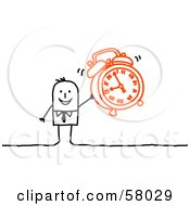 Royalty Free RF Clipart Illustration Of A Stick People Character Holding An Alarm Clock by NL shop