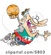 Caucasian Man About To Dunk A Basketball Clipart Illustration