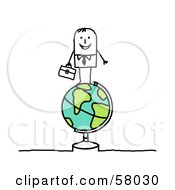 Stick People Character Standing On Top Of A Globe