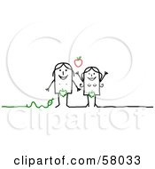 Royalty Free RF Clipart Illustration Of Adam And Eve Stick People Characters With An Apple And Snake by NL shop
