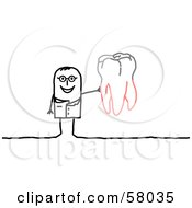 Stick People Character Dentist Holding Up A Tooth