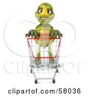 Royalty Free RF Clipart Illustration Of A 3d Green Tortoise Character Pushing A Shopping Cart