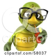 Royalty Free RF Clipart Illustration Of A 3d Green Tortoise Character Sipping Juice From A Straw Version 1
