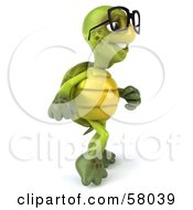Royalty Free RF Clipart Illustration Of A 3d Green Tortoise Character Walking And Wearing Spectacles