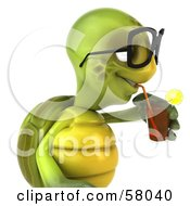 Royalty Free RF Clipart Illustration Of A 3d Green Tortoise Character Sipping Juice From A Straw Version 2