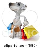 3d Jack Russell Terrier Pooch Character Looking Up And Carrying Shopping Bags by Julos