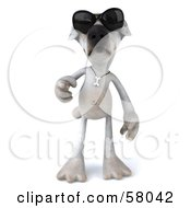 3d Jack Russell Terrier Pooch Character Wearing Shades And Walking Forward by Julos