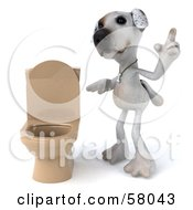 3d Jack Russell Terrier Pooch Character Standing Beside A Tan Toilet Version 2 by Julos