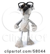 3d Jack Russell Terrier Pooch Character Wearing Glasses And Walking Forward by Julos
