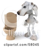 3d Jack Russell Terrier Pooch Character Standing Beside A Tan Toilet Version 1 by Julos