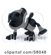 Royalty Free RF Clipart Illustration Of A 3d Black Lab Pooch Character Walking Forward On All Four Legs Version 1