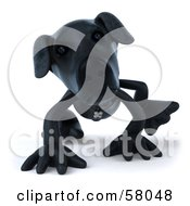 Royalty Free RF Clipart Illustration Of A 3d Black Lab Pooch Character Walking Forward On All Four Legs Version 2