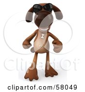 Royalty Free RF Clipart Illustration Of A 3d Brown Pooch Character Wearing Shades And Walking Forward by Julos