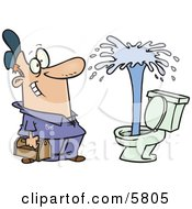 Happy Male Plumber Viewing A Geyser In A Toilet Clipart Illustration by toonaday #COLLC5805-0008