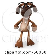 Royalty Free RF Clipart Illustration Of A 3d Brown Pooch Character Wearing Glasses And Walking Forward by Julos