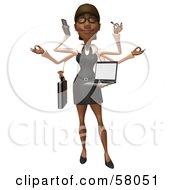 3d Black Businesswoman Character Multi Tasking - Version 1