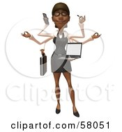 Royalty Free RF Clipart Illustration Of A 3d Black Businesswoman Character Multi Tasking Version 1