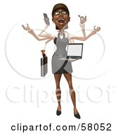 Royalty Free RF Clipart Illustration Of A 3d Black Businesswoman Character Multi Tasking Version 2