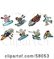 Royalty Free RF Clipart Illustration Of A Digital Collage Of Snowboarding Skiing Toboggan Ice Skating Rowing Surfing Water Skiing And Diving by NL shop