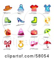 Royalty Free RF Clipart Illustration Of A Digital Collage Of Hats Shirts Shoes Bags And Accessories by NL shop
