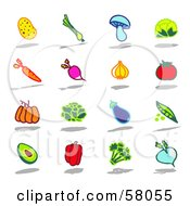 Royalty Free RF Clipart Illustration Of A Digital Collage Of A Potato Leek Mushroom Cauliflower Carrot Radish Garlic Tomato Pumpkin Lettuce Eggplant Pea Avocado Bell Pepper Broccoli And Turnip by NL shop