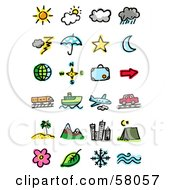 Royalty Free RF Clipart Illustration Of A Digital Collage Of Weather Celestial Directions Luggage Transportation And Travel by NL shop