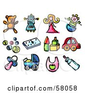 Royalty Free RF Clipart Illustration Of A Digital Collage Of A Teddy Bear Robot Doll Clown Balls Dominoes Blocks Car Pacifier Stroller Bib And Bottle by NL shop