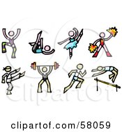 Royalty Free RF Clipart Illustration Of A Digital Collage Of Dancers Cheerleaders Karate Weight Lifting And Track And Field