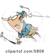 Male Golfer Being Hit By A Golf Ball Clipart Illustration