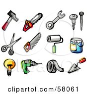 Royalty Free RF Clipart Illustration Of A Digital Collage Of A Hammer Saws Wrench Screw Nail Scissors Paintbrush Paint Light Bulb Drill Tape And Trowel by NL shop