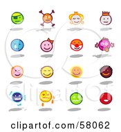 Royalty Free RF Clipart Illustration Of A Digital Collage Of Colorful Moody Emoticons