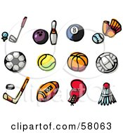 Royalty Free RF Clipart Illustration Of A Digital Collage Of Golf Bowling Billiards Baseball Soccer Tennis Basketball Volleyball Hockey Football Boxing And Badminton by NL shop