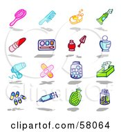 Royalty Free RF Clipart Illustration Of A Digital Collage Of A Hair Brush Comb Soap Toothpaste Lipstick Eye Shadow Nail Polish Perfume Blow Dryer Bandages Tissue Pills Syringe Lotion And Pills