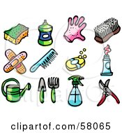 Royalty Free RF Clipart Illustration Of A Digital Collage Of A Sponge Bottle Glove Scrub Brush Bandages Comb Soap Toothpaste Watering Can Gardening Tools Spray Bottle And Pruners