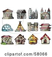 Royalty Free RF Clipart Illustration Of A Digital Collage Of Different Building Types by NL shop