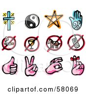 Royalty Free RF Clipart Illustration Of A Digital Collage Of Religion Restriction And Sign Language by NL shop