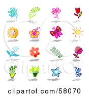 Digital Collage Of Flowers Butterfly Sun Cactus And Plants