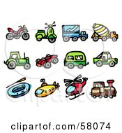 Royalty Free RF Clipart Illustration Of A Digital Collage Of An Atv Scooter Big Rig Concrete Mixer Tractor Race Car Camper Jeep Raft Submarine Helicopter And Train