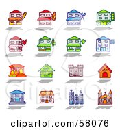 Royalty Free RF Clipart Illustration Of A Digital Collage Of Building Facades by NL shop